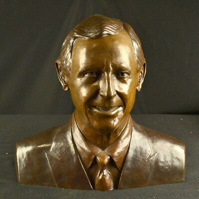 Golf Bronze Bust Famous Australian Golfer Tom Crow Sculpture Listed Karl Farris