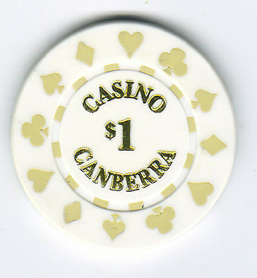$1 Casino Canberra - Casino Chip (with Gold card suit motif on edge)