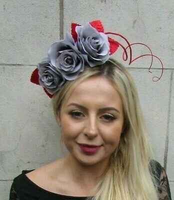 Red & Grey Rose Flower Feather Fascinator Headband Races Cocktail Hair Band 7046