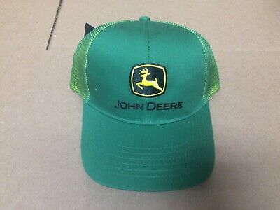JOHN DEERE ATHLETIC Mesh Back Hat Cap w Bill Detail (Green White ... 88154e38d0aa