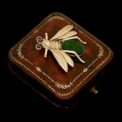 Antique Vintage Deco 14k Yellow Gold Chinese Mings Nephrite Jade Bee Pin Brooch