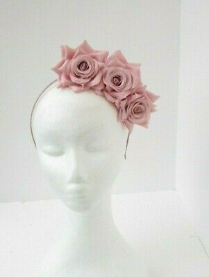 Blush Light Nude Pink Rose Flower Fascinator Headpiece Headband Races Hair 7052