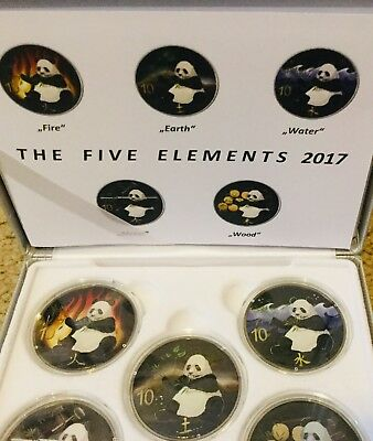 China 150g SILVER PANDA 5 x 10 yuan COLORIZED PF 2017 5 ELEMENTS SET POP=150