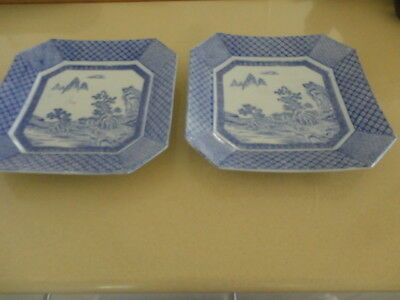 Two Antique Blue & White Japanese Meiji Period  Matching  31 cm Square Platters
