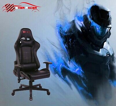 Gaming Office Chair Computer Racing Recliner Executive PU Leather Seat Black