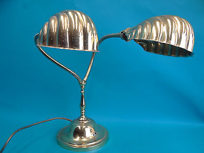 Mid-Century Modern Brass Cast Iron Base Scallop 2 Fixture Goose Neck Desk Lamp