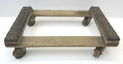 Industrial Wood Homemade Trolley Rubber Mat Shop Cart Mechanics Used Old