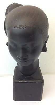 Signed Cast Bronze Chinese Asian Square Mount Fine Figural Bust Art Figure