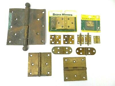 Mixed Lot Solid Brass Metal Cabinet Door Small & Large Hinges Parts Hardware