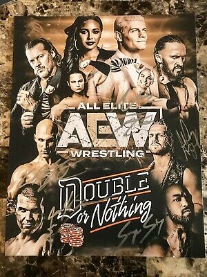 AEW All Elite Wrestling 11x14 Poster Photo Autographed By 5 Hand Signed