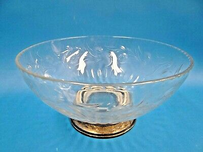 Vintage Etched Glass Sterling Silver Fruit Bowl Display Centerpiece Decorative