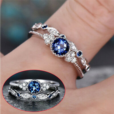 Gorgeous Women's Wedding Set Rings 925 Silver Round Cut Emerald Ring Size 5-10