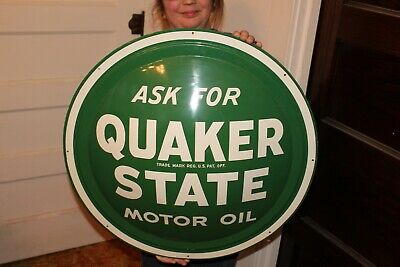 "Vintage 1950's Quaker State Motor Oil Gas Statio 24"" Metal Bubble Front Sign"