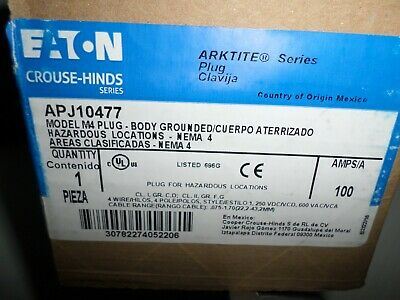 *NEW IN BOX* EATON Crouse-Hinds APJ10477 100-Amp Pin&Sleeve Plug 100A 4W4P 600V