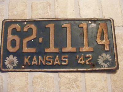 Old 1942 Kansas State License Plate Car Tag, 62-1114 Wabaunsee County Kan 42