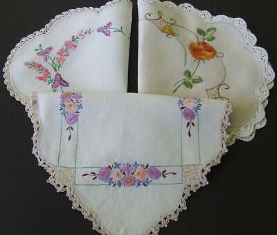 Three Lovely Vintage Hand Embroidered Table Centres - Crocheted Edgings