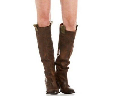 313e45291ddfd $248 Free People Montgomery Khaki Brown Leather Slouch Boots EU 38 US 7.5 8