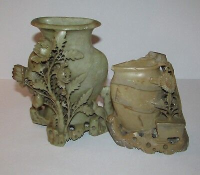 "2 Antique Chinese Soap Stone Soapstone Floral Bird Carved Vases AS IS 7"" 5"""