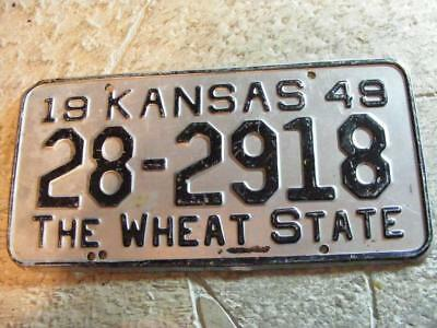 Old 1949 Kansas Wheat State License Plate Car Tag 28-2918 Harvey County 49