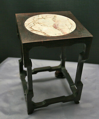 Exquisite Antique Chinese Huanghuali Wooden Stand Carved Marble Top Signed