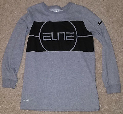 01e6c56a NIKE ELITE BOYS Long Sleeve T-Shirt Youth Medium Gray Black - $7.99 ...