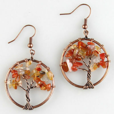 Natural Red Agate Chip Beads Tree of Life Chakra  Healing Reiki Copper Earrings