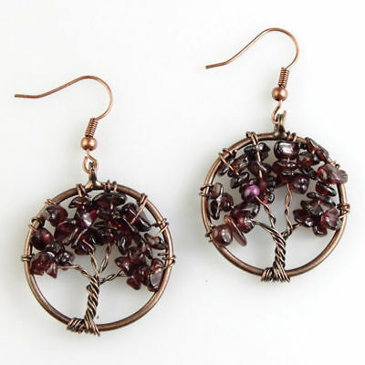 Natural Garnet Chip Beads Tree of Life Chakra Reiki Copper Dangle Earrings