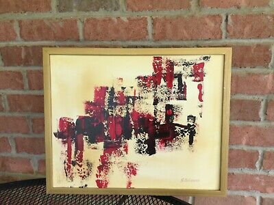 """Desert Abstract Art Original acrylic painting canvas Wall Decor Brown Red 20"""""""