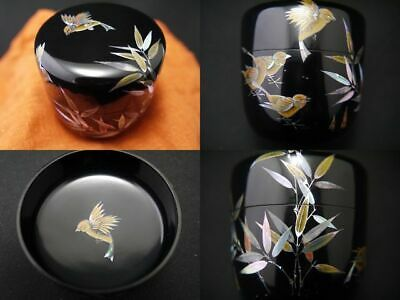 Korean Lacquer Sparrows at Bamboo design in Mother-of-pearl inlay Natsume (201)