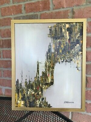 Cityscape Abstract Art Original acrylic painting canvas Wall Decor Gift for Men
