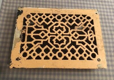 "Cast Iron Victorian Style Grate Heating Ventilation Duct Intake 13-5/8x9-3/4"" #7"