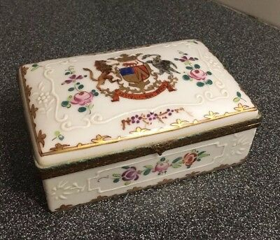 Antique EDME SAMSON French Porcelain Coat of Arms  abstulit qui dedit box RARE