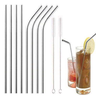 Stainless Steel Metal Drinking Straws Reusable Straw + Cleaner Brushes Kit Set