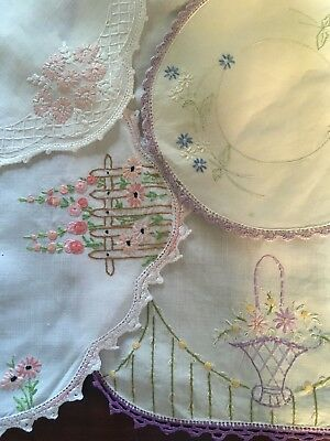 6 Vintage Pink, Mauve Floral Linen Embroidered Centrepieces Doilies Craft or Use