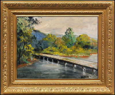 JULES R. HERVE Original OIL PAINTING on BOARD Landscape Signed Framed Artwork