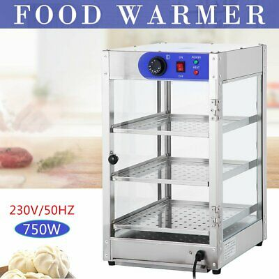 3-layer Commercial Pie Food Warmer Hot Display Showcase Cabinet Stainless Steel