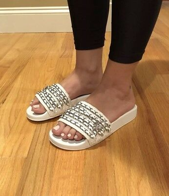 64c9815baadd Chanel Tropiconic tweed White Silver leather Chain flat Slide Sandals 36