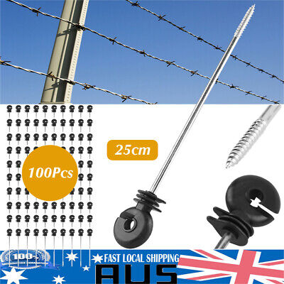 100 Screw In Offset Electric Fence Wood Timber Post Insulators Tape Cord Wire AU