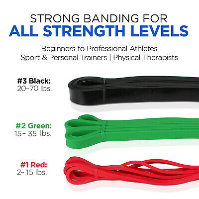 Pull Up Assist Bands – Set of 3 – Perfect for Body Stretching, Strength Training