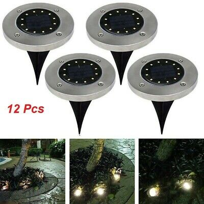12x Solar Powered 16 LED Buried Inground Recessed Light Garden Outdoor Deck Path