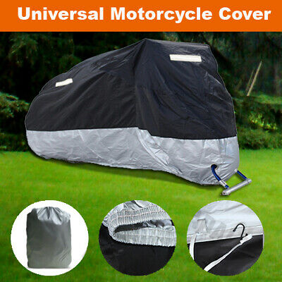 Waterproof Motorcycle Motorbike Scooter Cover Black-Outside Silver-Inside KM3YB