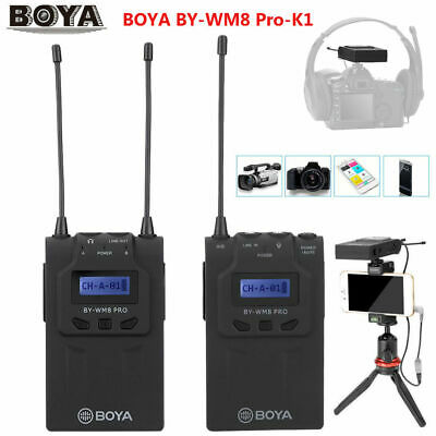 BOYA BY-WM8 Pro-K1 1T1R UHF Dual Channel Interview Wireless Lavalier Microphone