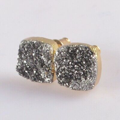 10mm Square Natural Agate Titanium Druzy Stud Earrings Gold Plated T074946