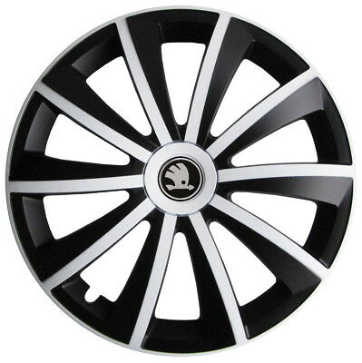 4x15 Wheel trims for Skoda Octavia Fabia Rapid 15 - black /