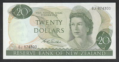 NEW ZEALAND P-167b.  (1968-75) 20 Dollars.. Wilks.. Prefix BJ.. aU-UNC
