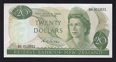 NEW ZEALAND P-167b.  (1968-75) 20 Dollars.. Wilks.. Prefix BH.. aU-UNC
