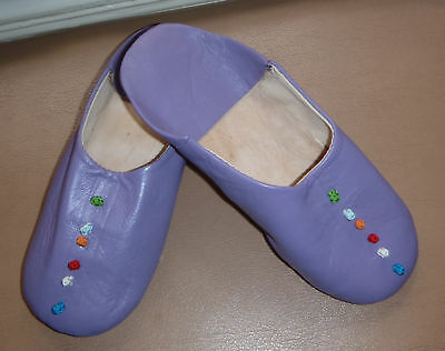 Moroccan  Soft Leather Slippers * 5/38 * Purple