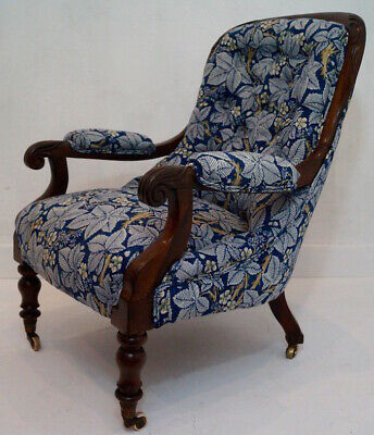 Antique 19thC Button Back Armchair upholstered in Morris & Co. 'Bramble' fabric