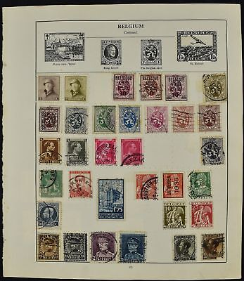 Belgium Double Sided Album Page Of Stamps #V8223