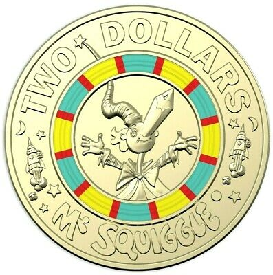 2019 $2  Coin 60th Anniversary of Mr Squiggle and Friends Coloured Unc #1 EX SET